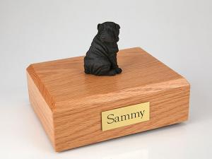 Shar Pei, Black Sitting Dog Figurine Cremation Urn