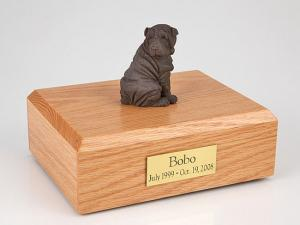 Shar Pei, Chocolate Dog Figurine Cremation Urn