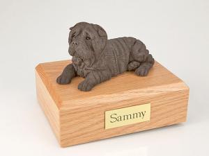 Shar Pei, Chocolate Laying Dog Figurine Cremation Urn