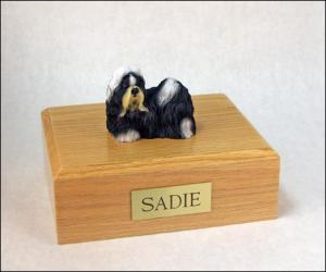 Shih Tzu, Tri-Color Dog Figurine Cremation Urn