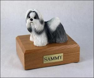 Shih Tzu, Black-White Standing Dog Figurine Cremation Urn