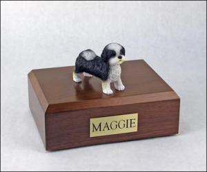 Shih Tzu, Black-White, Puppycut Dog Figurine Cremation Urn
