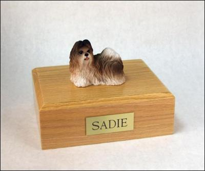 Shih Tzu, Rust Red-White Dog Figurine Cremation Urn