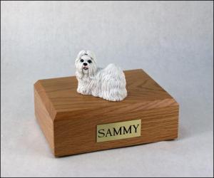 Shih Tzu, White Dog Figurine Cremation Urn