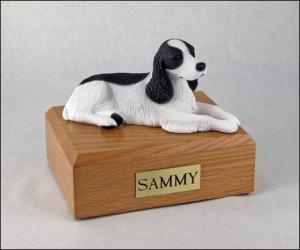 Springer Spaniel, Blk-Wht Dog Figurine Cremation Urn