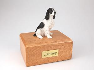 Springer Spaniel, Blk-Wht Sitting Dog Figurine Cremation Urn