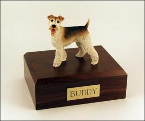 Wire Fox Terrier, Tri Color Standing Dog Figurine Cremation Urn
