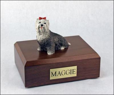 Yorkshire Terrier, Gray Dog Figurine Cremation Urn