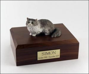 Angora, Gray Cat Figurine Cremation Urn