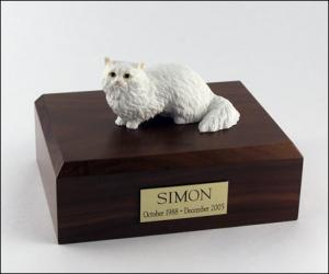 Angora, White Cat Figurine Cremation Urn