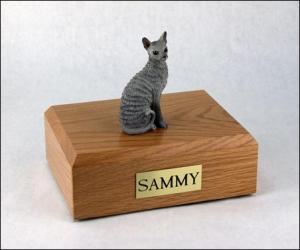Cornish Rex, Blue Sitting Cat Figurine Cremation Urn