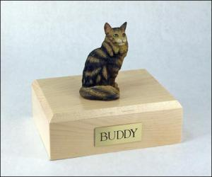 Maine Coon, Brown Tabby Cat Figurine Cremation Urn