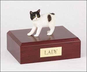 Manx, Black-White  Cat Figurine Cremation Urn