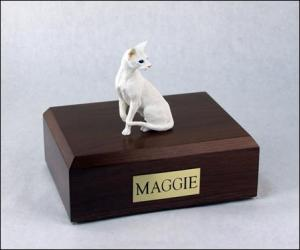 Oriental Shorthair, White Cat Figurine Cremation Urn