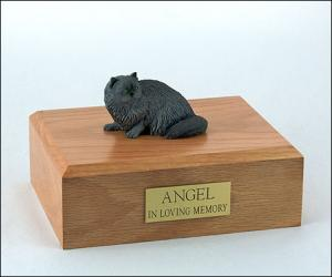 Persian, Grey Sitting Cat Figurine Cremation Urn