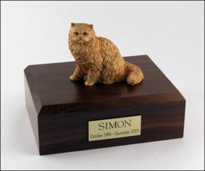 Persian, Orange Cat Figurine Cremation Urn