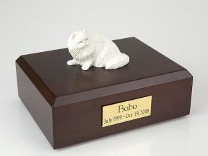 Persian, White Cat Figurine Cremation Urn
