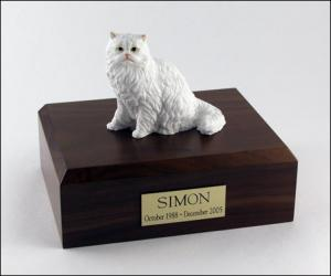 Persian, White Sitting Cat Figurine Cremation Urn
