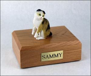 Scottish Fold, Tort-White Cat Figurine Cremation Urn