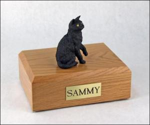Shorthair, Black Sitting Cat Figurine Cremation Urn
