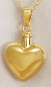 Gold Classic Puffed Heart Cremation Pendant Urn
