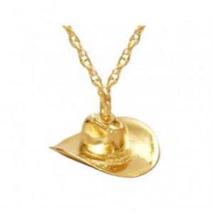 Gold Cowboy Hat Keepsake Pendant Cremation Urn