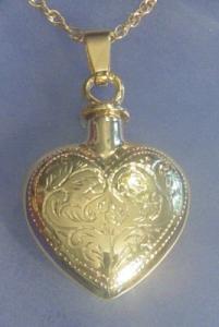 Gold Etched Heart Keepsake Cremation Urn