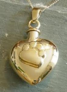 Gold Paw Print Heart Pet Cremation Urn Necklace
