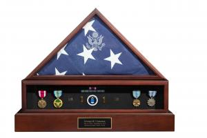 Presidential Cremation Urn, Flag and Medals Display Case