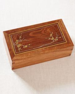 Hardwood Cremation Urn with Silver Inlay Cherry Blossom