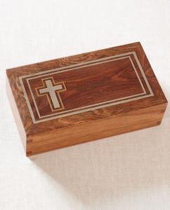 Hardwood Cremation Urn with Silver Inlay Christian Cross