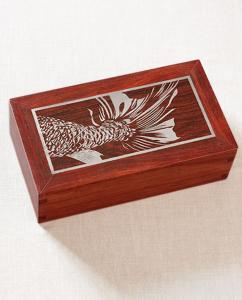Hardwood Cremation Urn with Silver Inlay Fish Tail