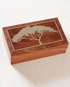 Rosewood Cremation Urn with Silver Inlay Cypress Tree