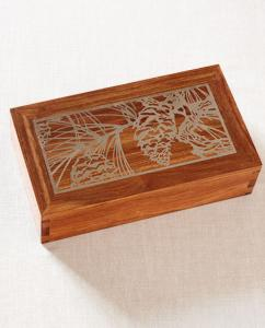 Hardwood Cremation Urn with Silver Inlay Pine Cones