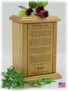 Rainbow Bridge Wooden Pet Cremation Urn