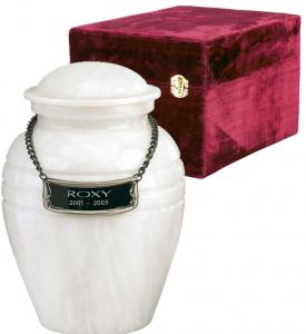 Small White Grain Marble Cremation Urn