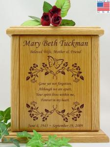 Small Butterfly Vine and Poem Wood Cremation Urn