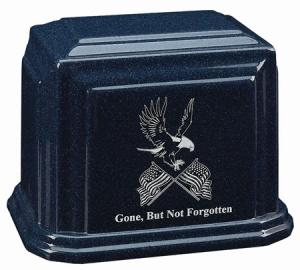 Eagle and Flags Cultured Granite Cremation Urn
