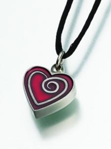 Red Enamel Heart Cremation Pendant