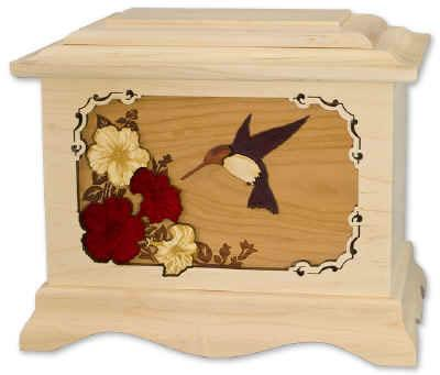 Hummingbird II Wood Cremation Urn