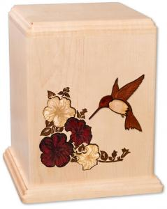 Hummingbird on Maple Wood Cremation Urn