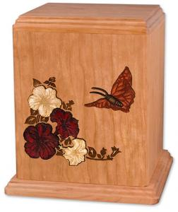 Butterfly on Cherry Wood Cremation Urn