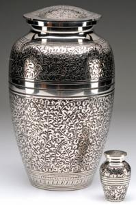 Hand-Tooled Nickel Overlay Cremation Urn