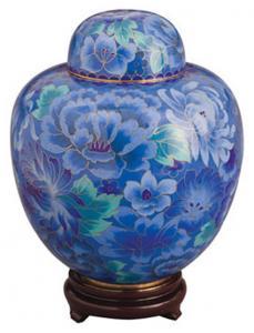 Azure Garden Cloisonne Cremation Urn