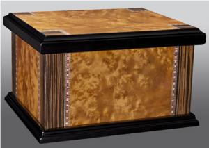 Lacquered Wood Inlay Chest Cremation Urn