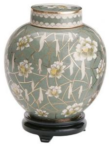 White Flower Companion Cloisonne Cremation Urn