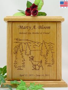 Deer Scene Wood Cremation Urn