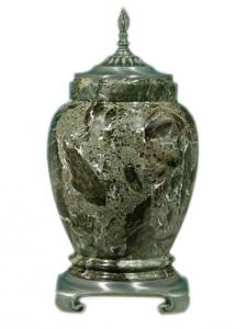 Green Marble Cremation Urn with Pewter Accents