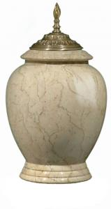 Modern Botticino Marble Cremation Urn with Satin Flemish Accents