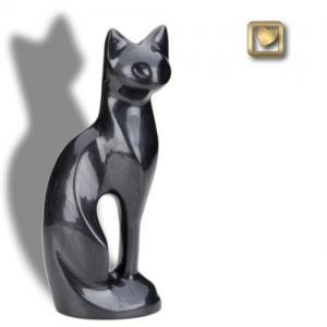 Pearlescent Black Cat Cremation Urn